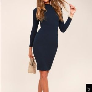 NWT Lulus I Mist You Navy Blue Bodycon Midi Dress